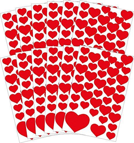 Avery Zweckform 58222 Liebe Sticker Set Herzen (Vorteils-Pack) 468 Aufkleber rot