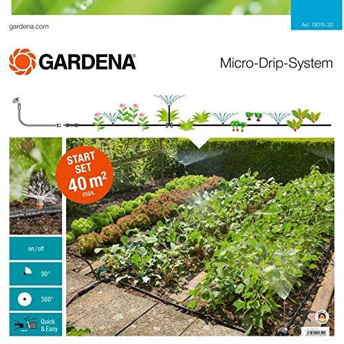 GARDENA 13015-20 Micro-Drip Start Set Pflanzflächen, ideales Einsteiger-Set zur Bewässerung von bis zu 40m² Blumenbeet/Nutzgartenbeet, enthält zahlreiche Systemteile zum Aufbau einer Bewässerungsanlage für Ihre Pflanzen