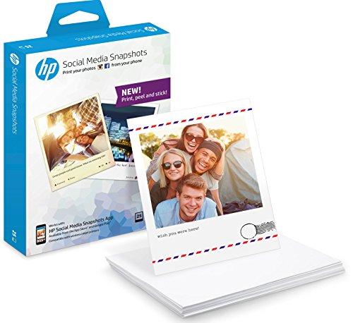 HP Social Media Snapshots Fotopapier (25 Blatt, 10 x 13 cm, selbstklebende Rückseite)