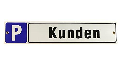 Buddel Bini Schild Straßenschild Parkplatz Kunden Emaille Parkplatzschild, 40×8 cm, weiß