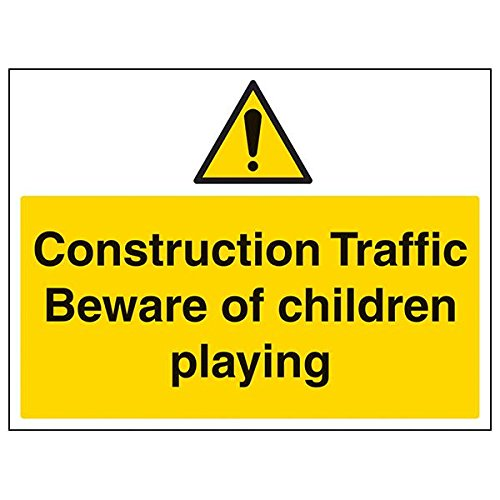 "vsafety 67035bf-r Konstruktion ""Traffic/Beware of Kinder"" Sign, 400 mm x 300 mm (3 Stück)"
