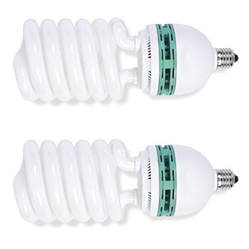 Phot-R – 2energiesparende Tageslicht-Glühbirnen für die professionelle Beleuchtung im Fotostudio – E27, 1000 W (200W), 220 V, 5500 K, Kompaktleuchtstofflampe (CFL), Spiralleuchte