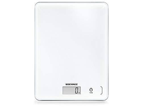 Soehnle 61501 Page Compact 300 Digital-/Küchenwaage, bis zu 5 kg Tragkraft, mit leicht ablesbarer LCD-Anzeige, mit Zuwiegefunktion, weiß