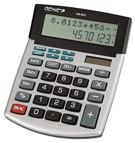 Genie 235 BCC 12-stelliger Business-Tischrechner (Dual-Power (Solar und Batterie), inkl. Rechenweganzeige) silber / grau