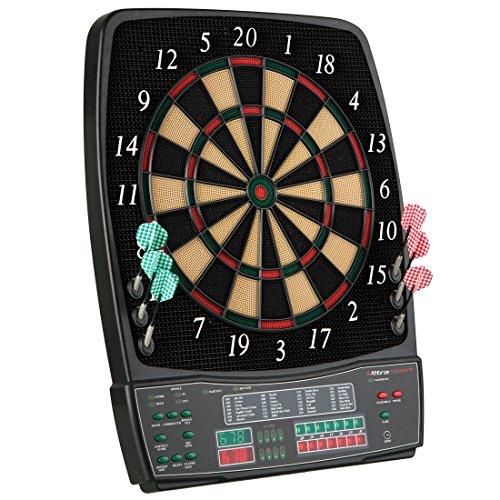 UItrasport Dartboard elektronisch, Classic Dartboard für 8 Spieler, 28 Spiele, 167 Varianten / elektronische Dartscheibe inklusive 12 Softpfeile, Dartspiel mit LED-Anzeige